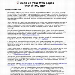 Clean up your Web pages with HTML TIDY