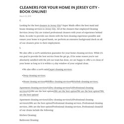 CLEANERS FOR YOUR HOME IN JERSEY CITY - BOOK ONLINE!