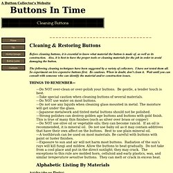 Cleaning Buttons: How to for the Button Collector
