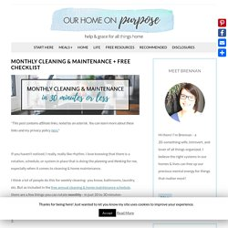 Monthly Cleaning & Maintenance + FREE Checklist – Our Home on Purpose