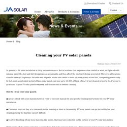 Cleaning your PV solar panels - Blog