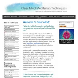 Clear Mind Meditation Techniques
