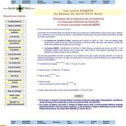 reseau de sante Paris-Nord, outils DIABETE: Calcul de la clearance de la creatinine par la formule de Cockroft