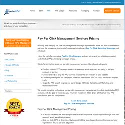 Pay Per Click Management Pricing and Cost Per Click Rates