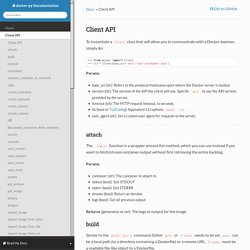 Client API - docker-py Documentation