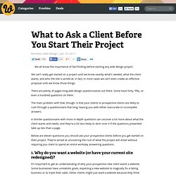 What to Ask a Client Before You Start Their Project