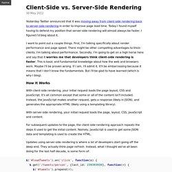 Client-Side vs. Server-Side Rendering