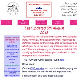 CLIL Humanities Follow Up Webpage