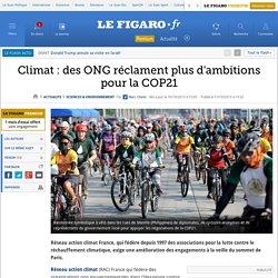 Climat: des ONG réclament plus d'ambitions pour la COP21