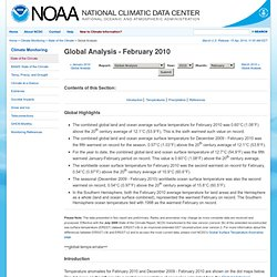 State of the Climate | Global Analysis | February 2010
