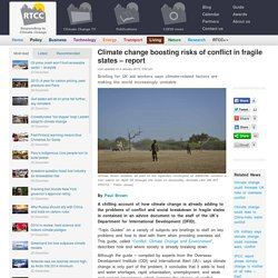 Climate change boosting risks of conflict in fragile states - report
