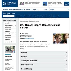 MSc Climate Change, Management and Finance