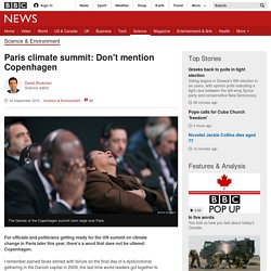 Paris climate summit: Don't mention Copenhagen - BBC News