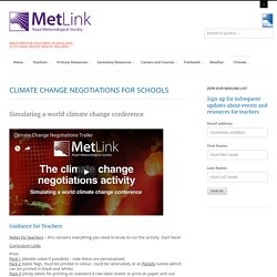 Climate Change Negotiations For Schools - Metlink Teaching Weather and Climate