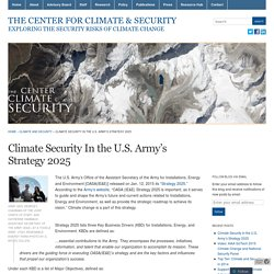 Climate Security In the U.S. Army's Strategy 2025