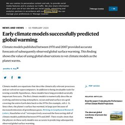 Early climate models successfully predicted global warming