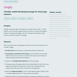 Clingify - a jQuery plugin to make stuff sticky (Demo)