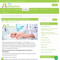 Clinical reasoning/clinical decision making - Try Education Types
