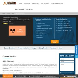 SAS Clinical Training Online With Live Projects