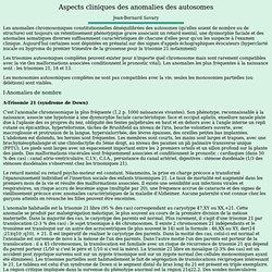 cliniques des anomalies des autosomes