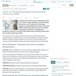 Covid-19: les 15études cliniques labellisées «priorité nationale de recherche» par le CAPNET