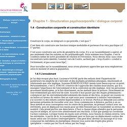 Dialogue corporel et danse-thérapie - Eléments théorico-cliniques Psychomotricité première année