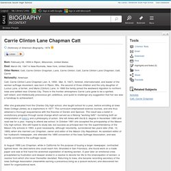 Carrie Clinton Lane Chapman Catt - Biography in Context
