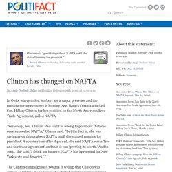 Clinton has changed on NAFTA