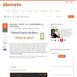 jQuery Copy to Clipboard 4 Options