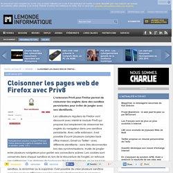 Cloisonner les pages web de Firefox avec Priv8