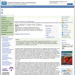 CDC EID JUIN 2008. Au sommaire: Adult Clostridium difficile–related Hospitalizations, United States, 2000–2005