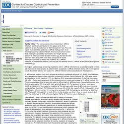 CDC EID - AOUT 2012 - Au sommaire: Epidemic Clostridium difficile Ribotype 027 in Chile