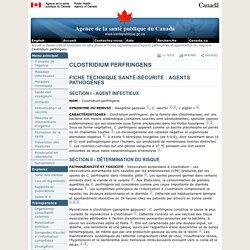 Clostridium perfringens - Fiches techniques santé-sécurité: agents pathogènes