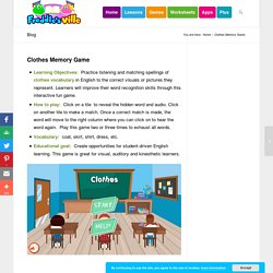 Clothes Memory Game for ESL Learners