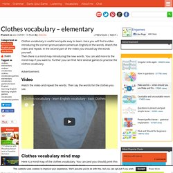 Clothes vocabulary – elementary