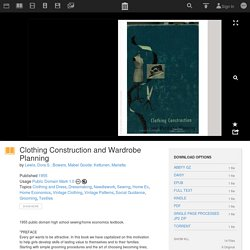 Clothing Construction and Wardrobe Planning : Lewis, Dora S.