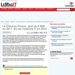 Le Cloud en France : plus de 2 Md€ en 2011, 6% de l'industrie IT en 2012