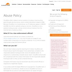 Cloudflare Abuse Form