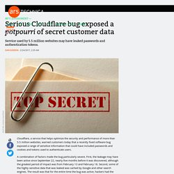 Serious Cloudflare bug exposed a potpourri of secret customer data