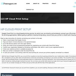 123.hp.com/CloudPrint Setup & 123 HP Google Cloud Print Installation
