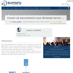 Cluster de basculement sous Windows Server 2012 R2