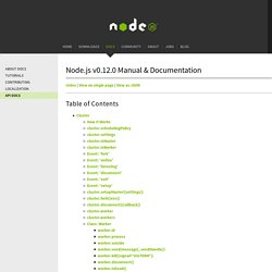 Cluster Node.js v0.10.10 Manual