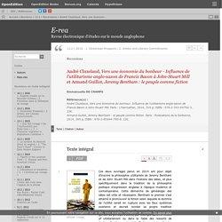 André Cluzelaud, Vers une économie du bonheur - Influence de l'utilitarisme anglo-saxon de Francis Bacon à John-Stuart Mill et Armand Guillot, Jeremy Bentham: le peuple comme fiction