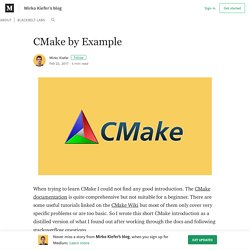 CMake by Example – Mirko Kiefer's blog