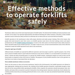 How to operate forklifts safely in a warehouse