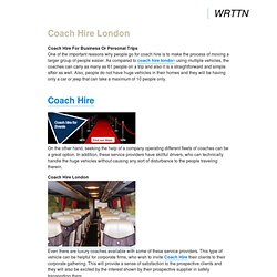 Coach Hire For Business Or Personal Trips