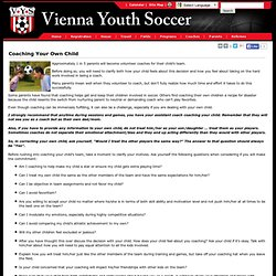 Coaching Your Own Child - Vienna Youth Soccer
