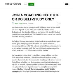 JOIN A COACHING INSTITUTE OR DO SELF-STUDY ONLY