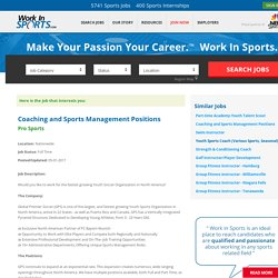 Coaching and Sports Management Positions - Pro Sports