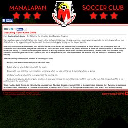 Coaching Your Own Child - Manalapan Soccer Club